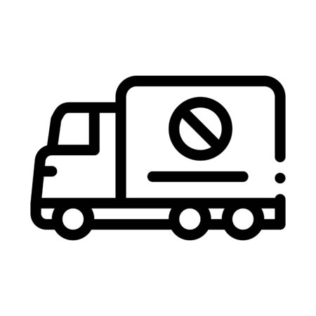Truck Cross Mark Icon Vector. Outline Truck Cross Mark Sign. Isolated Contour Symbol Illustration
