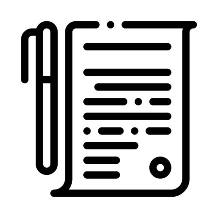 Agreement Pen Icon Vector. Outline Agreement Pen Sign. Isolated Contour Symbol Illustration
