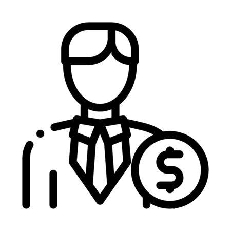 Investor Money Icon Vector. Outline Investor Money Sign. Isolated Contour Symbol Illustration Illusztráció