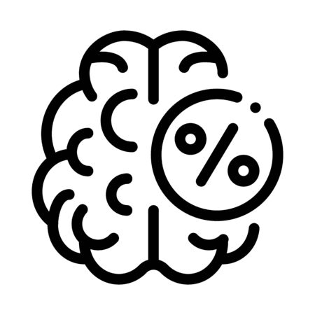 Brain Percentage Icon Vector. Outline Brain Percentage Sign. Isolated Contour Symbol Illustration