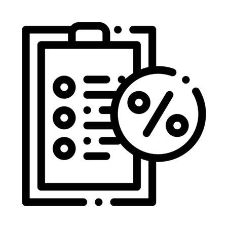 Checklist Percent Icon Vector. Outline Checklist Percent Sign. Isolated Contour Symbol Illustration