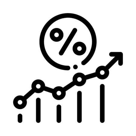 Grow Percent Icon Vector. Outline Grow Percent Sign. Isolated Contour Symbol Illustration