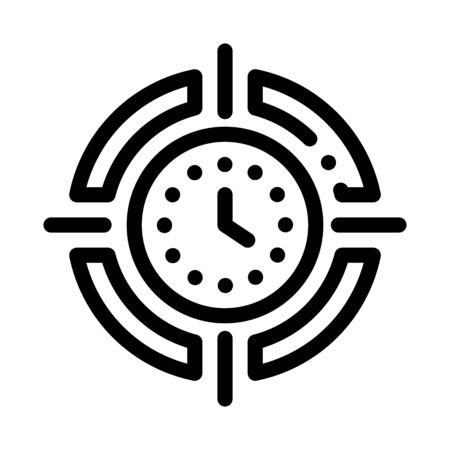 Target Clock Time Icon Vector. Outline Target Clock Time Sign. Isolated Contour Symbol Illustration
