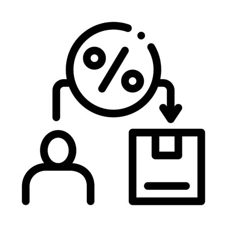 Man Save Percent Icon Vector. Outline Man Save Percent Sign. Isolated Contour Symbol Illustration