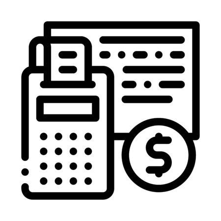 Calculator Coin Icon Vector. Outline Calculator Coin Sign. Isolated Contour Symbol Illustration