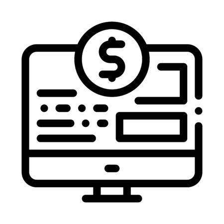 Money Web Site Icon Vector. Outline Money Web Site Sign. Isolated Contour Symbol Illustration Illusztráció