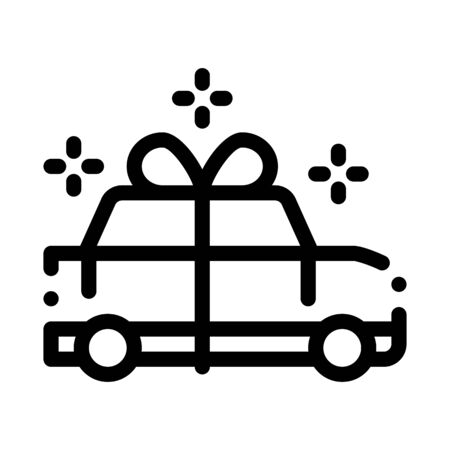 Car Present Gift Icon Vector. Outline Car Present Gift Sign. Isolated Contour Symbol Illustration