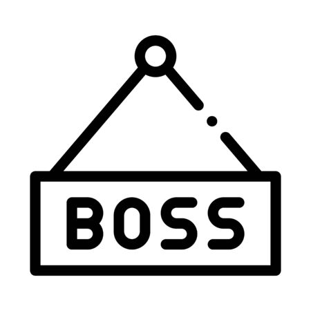 Boss Nameplate Icon Vector. Outline Boss Nameplate Sign. Isolated Contour Symbol Illustration