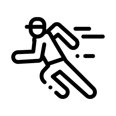 Running Player Icon Vector. Outline Running Player Sign. Isolated Contour Symbol Illustration