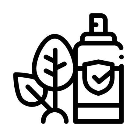 Spray Plant Leaf Icon Vector. Outline Spray Plant Leaf Sign. Isolated Contour Symbol Illustration Çizim