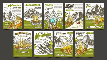 Hiking Summer Camp Advertising Banners Set Vector. Collection Of Different Creative Advertise Adventure Camp Posters. Burning Campfire And Mountains Hand Drawn In Vintage Style Color Illustrations Illusztráció