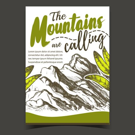 Mountains Calling Hiking Advertising Poster Vector. High Altitude Summit Of Mountains Landscape And Green Leaves. Extreme Sport And Expedition Designed Template Colored Illustration