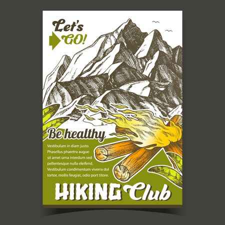 Hiking Adventure Club Advertising Poster Vector. Torch Flame Blowing In Wind, High Mountain And Green Leaves Tourist Adventure. Burning Fireplace Template Designed In Vintage Style Color Illustration Ilustrace