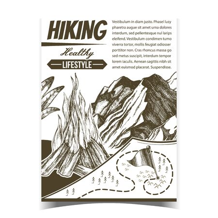 Hiking Healthy Lifestyle Advertising Poster Vector. Burning Bonfire, Rocky Cliff Mountain And Hiking Route Map With Flag Point. Sport Activity Hand Drawn In Retro Style Monochrome Illustration