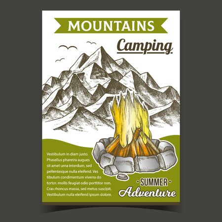 Mountains Camping Fire Advertising Poster Vector. Burning Campfire And Rock Mountains. Summer Adventure Advertise Banner. Firewood With Bricks Stones Around Of Flame Hand Drawn In Vintage Illustration Banque d'images - 138248890