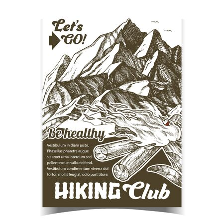 Hiking Adventure Club Advertising Poster Vector. Torch Flame Blowing In Wind, High Mountain And Green Leaves Tourist Adventure. Burning Fireplace Template Designed In Vintage Style Monochrome Illustration