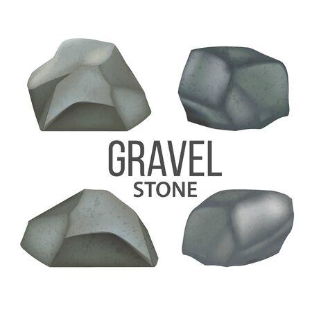 Gravel Stones, Heavy Fieldstones Debris Set Vector. Collection Of Solid Strong Stones Crag Detail For Building Fence Or Castle. Nature Block Slates Designed Colorful Template Realistic 3d Illustrations Ilustração