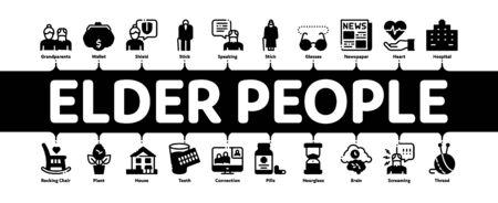 Elder People Pensioner Minimal Infographic Web Banner Vector. Medicine Pills For Elder People, Glasses, Hospital, Newspaper And Plant Concept Illustrations Vectores