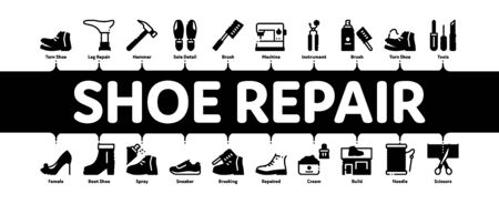 Shoe Repair Equipment Minimal Infographic Web Banner Vector. Shoes Repair Tools And Scissors, Sewing Machine And Hammer, Cream And Brush Concept Illustrations