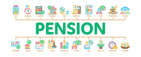 Pension Retirement Minimal Infographic Web Banner Vector. Money in Glass Bottle And Box, Calculator And Clock, Pension Finance Concept Illustrations