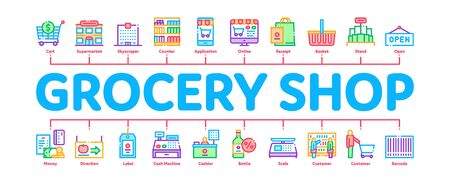 Grocery Shop Shopping Minimal Infographic Web Banner Vector. Internet Grocery Shop Or In Super Market, Scales And Cash Machine Concept Illustrations