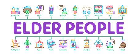 Elder People Pensioner Minimal Infographic Web Banner Vector. Medicine Pills For Elder People, Glasses, Hospital, Newspaper And Plant Concept Illustrations Ilustração