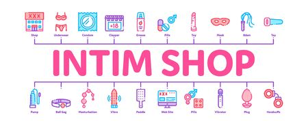 Intim Shop Sex Toys Minimal Infographic Web Banner Vector. Intim Shop Building And Internet Web Site, Collar And Handcuffs, Mask And Condom Concept Illustrations
