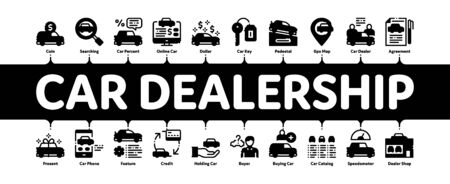 Car Dealership Shop Minimal Infographic Web Banner Vector. Car Dealership Agreement And Document, Auto Salon And Building, Key And Gps Mark Concept Illustrations