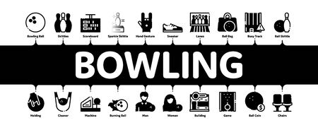 Bowling Game Tools Minimal Infographic Web Banner Vector. Bowling Ball and Skittle, Building And Stool, Scoreboard And Shoe, Player And Hand Gesture Concept Illustrations