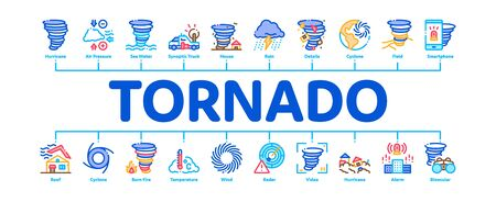 Tornado And Hurricane Minimal Infographic Web Banner Vector. Tornado Blowing House Roof, Cyclone On Planet Globe, Twister Weather Concept Illustrations