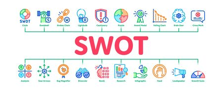 Swot Analysis Strategy Minimal Infographic Web Banner Vector. Swot Infographics And Broken Chain, Lightbulb, Shield And Brain With Gear Concept Illustrations Иллюстрация