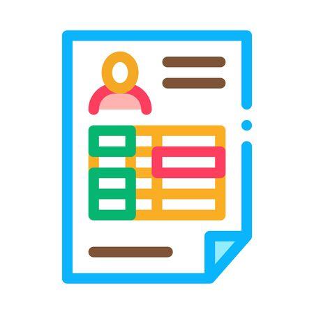 Profile Sheet Icon Vector. Outline Profile Sheet Sign. Isolated Contour Symbol Illustration Stok Fotoğraf - 138386726