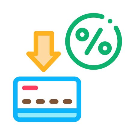 Card Percentage Icon Vector. Outline Card Percentage Sign. Isolated Contour Symbol Illustration