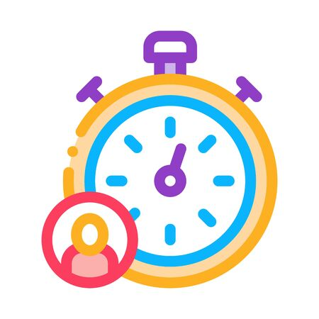 Stopwatch Human Icon Vector. Outline Stopwatch Human Sign. Isolated Contour Symbol Illustration
