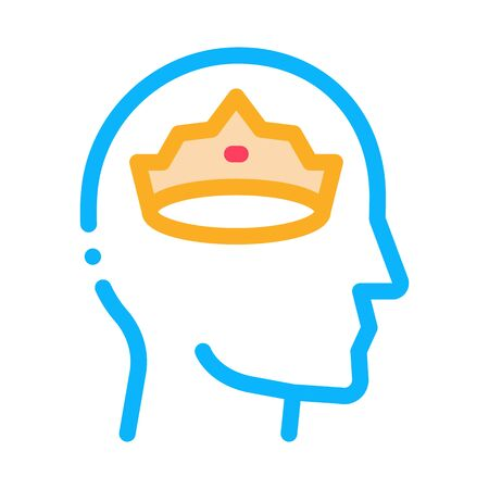 Crown Man Head Icon Vector. Outline Crown Man Head Sign. Isolated Contour Symbol Illustration 向量圖像