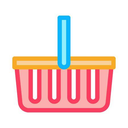 Shop Basket Icon Vector. Outline Shop Basket Sign. Isolated Contour Symbol Illustration