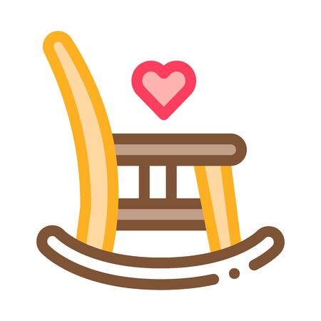 Rocking Chair Icon Vector. Outline Rocking Chair Sign. Isolated Contour Symbol Illustration