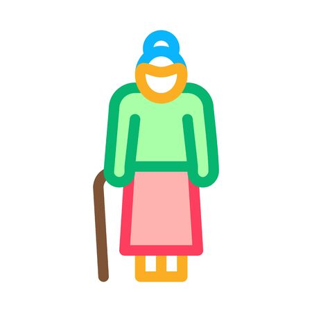 Old Woman Stick Icon Vector. Outline Old Woman Stick Sign. Isolated Contour Symbol Illustration