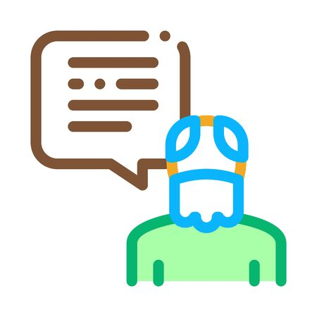 Old Man Speaking Icon Vector. Outline Old Man Speaking Sign. Isolated Contour Symbol Illustration