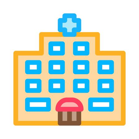 Hospital Building Icon Vector. Outline Hospital Building Sign. Isolated Contour Symbol Illustration