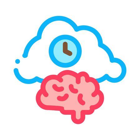 Brain Cloud Clock Icon Vector. Outline Brain Cloud Clock Sign. Isolated Contour Symbol Illustration  イラスト・ベクター素材