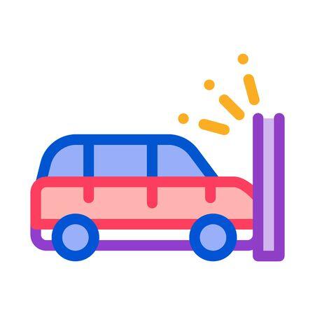 Crash Car Wall Icon Vector. Outline Crash Car Wall Sign. Isolated Contour Symbol Illustration  イラスト・ベクター素材