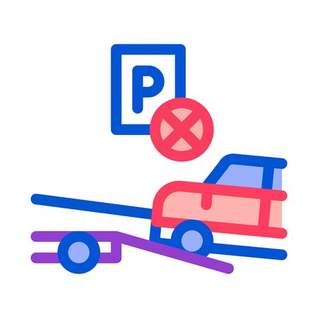 Wrong Parking Car Icon Vector. Outline Wrong Parking Car Sign. Isolated Contour Symbol Illustration