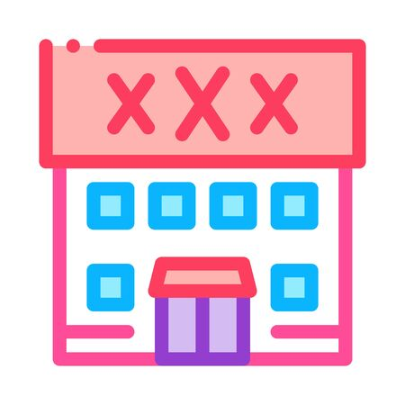 Sex Shop Building Icon Vector. Outline Sex Shop Building Sign. Isolated Contour Symbol Illustration