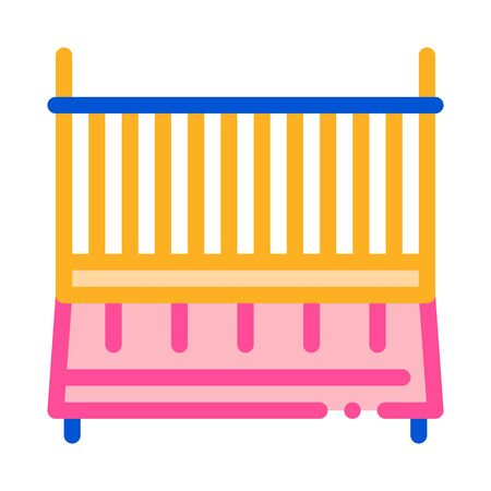 Cot Baby Bed Icon Vector. Outline Cot Baby Bed Sign. Isolated Contour Symbol Illustration Ilustração