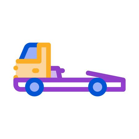 Tow Cargo Truck Icon Vector. Outline Tow Cargo Truck Sign. Isolated Contour Symbol Illustration