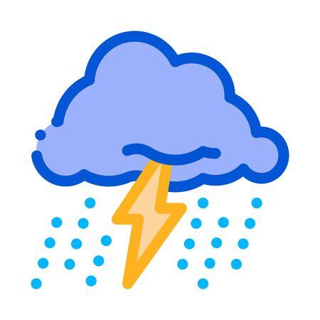 Rain Lightning Icon Vector. Outline Rain Lightning Sign. Isolated Contour Symbol Illustration