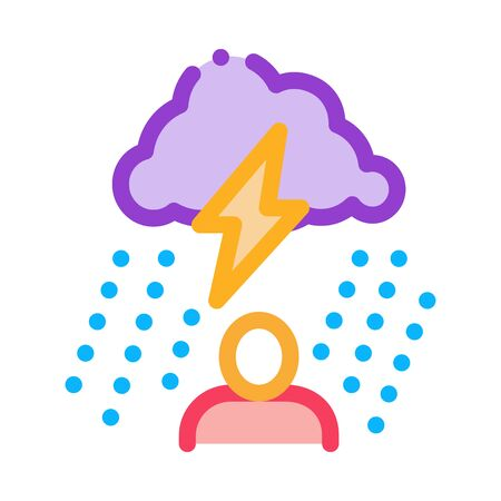 Rainy Cloud Man Icon Vector. Outline Rainy Cloud Man Sign. Isolated Contour Symbol Illustration