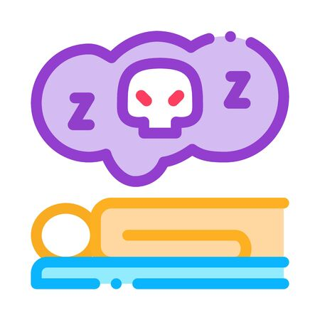 Dead Sleep Man Icon Vector. Outline Dead Sleep Man Sign. Isolated Contour Symbol Illustration