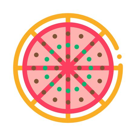 Cut Pizza Icon Vector. Outline Cut Pizza Sign. Isolated Contour Symbol Illustration